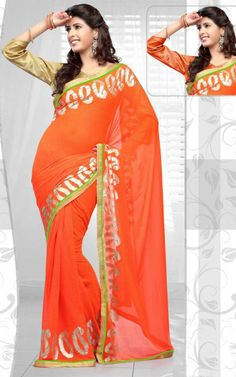 ORANGE GEORGETTE LATEST SAREE - RIS 1710B