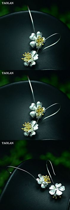 TAOLAN Hot Sale S925 Sterling Silver Flower Drop Earrings for Women Fashion Jewelry Gift Free Shipping TLE8216