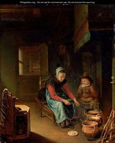 """5 августа. """"An Interior With A Woman Cooking Pancakes With A Young Boy Before A Hearth""""  by Pieter Cornelisz. van SLINGELANDT"""