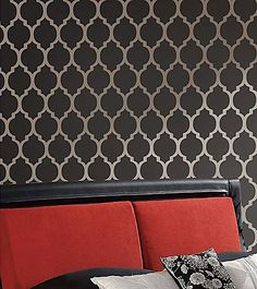 Large Moroccan Stencils for easy wall painting. Moroccan stencil Casablanca.  Love the silver paint underneath, too.