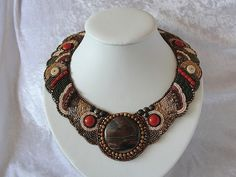 Bead embroidery collar glass bead necklace by Recyclingkunst Beaded Embroidery, Glass Beads, Beaded Necklace, Trending Outfits, Unique Jewelry, Handmade Gifts, Vintage, Recycling, Awesome