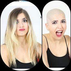 Before After Hair, Before And After Haircut, Cool Haircuts For Girls, Summer Haircuts, Punishment Haircut, Bald Head Women, Forced Haircut, Shaved Hair Women, Shaved Heads