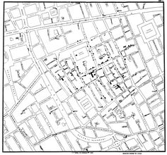 Infamous Ghost Map that helped in solving the cholera epidemic in Victorian London. In the center of the map is the contaminated Broad Street pump. For more information check out the book The Ghost Map by Steven Johnson.