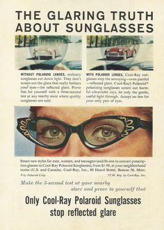 """Cool Ray Polaroid Sunglasses Original 1961 Vintage Print Ad Color Photo Woman's Glasses """"The Glaring Truth About Sunglasses"""" on Etsy, $9.99"""