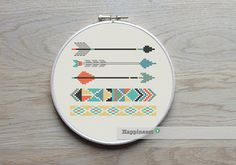 modern cross stitch pattern arrows and borders, aztec style pattern, PDF ** instant download**