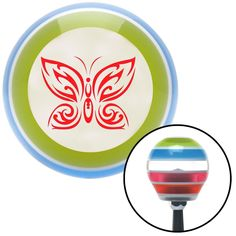 Red Fancy Abstract Butterfly Stripe Shift Knob with M16 x 15 Insert