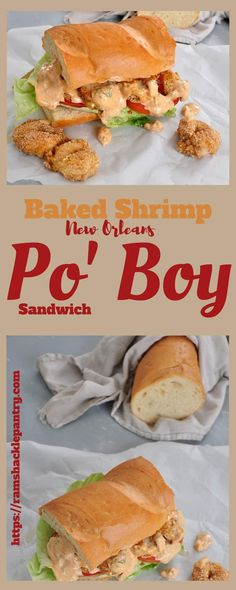 This Baked Shrimp Po' Boy Sandwich With Remoulade sauce is about as tasty as you can get! Everything from the sauce to the French bread to the shrimp are super tasty! #shrimp #neworleans #frenchbread #sandwich #lunch via @ramshacklepantr