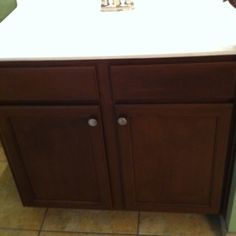Used to be the worst color cabinet ever until we refinished them. :) Love Rustoleum Cabinet Transformation kit!
