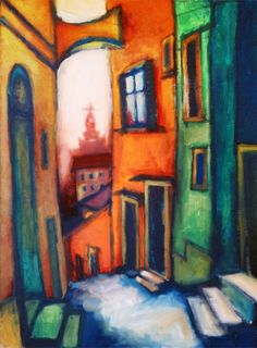 This drawing shows a close up version of buildings. The artist has use a bold colour palette to make it stand out.