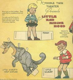 Toodle CUT Outs Newspaper Paper Doll Little RED Riding Hood 1942 | eBay