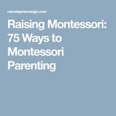 Raising Montessori: 75 Ways to Montessori Parenting