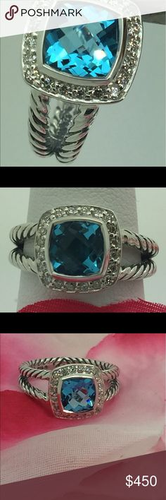 David Yurman 925 Blue Topaz Diamonds  Ring Sz6.5 Authentic David Yurman 925 Sterling Silver Blue Topaz Diamonds Albion Ring Size 6.5 In Excellent Condition!!! Very Bright And Shine, Excellent For The Valentine's day, DY Pouch Including, Thanks David Yurman Jewelry Rings
