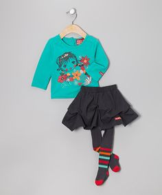 Take a look at this Turquoise Flower Girl Tee Set - Infant by Blanc de Blanc on #zulily today!