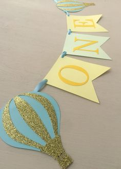 Hot Air Ballon Birthday Banner Highchair Sign by MBHaccessories
