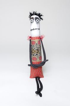Blackhaired Anxiety Faerie art doll with button eyes by Snotnormal!