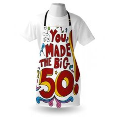 East Urban Home Ambesonne Birthday Apron, Coloured Floral Design With Fun Cartoon Like Display And Birthday Message, Unisex Kitchen Bib With Adju Cool Aprons, Birthday Messages, Cool Cartoons, 50th Anniversary, 50th Birthday, House Warming, Festive, Floral Design, Commercial