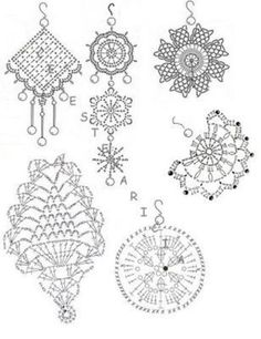 Crochet diagram to make earrings, Spanish site