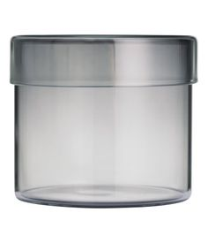 Glass box with a lid. Height 3 1/ 4 in., diameter 3 1/2 in.