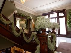 babies breath garland - try attaching on pew ends down church aisle - gorgeous effect
