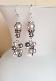 Grey Glass Pearl Drop Earrings with MultiColored by SmockandStone, $15.00