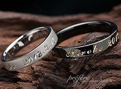 記念日と名前を手彫りした結婚指輪