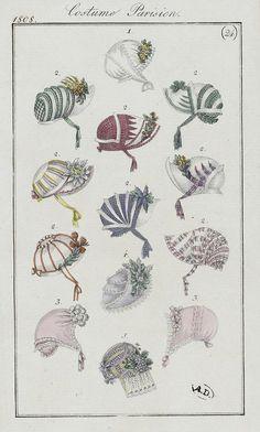 Bonnets 1808 costume parisien