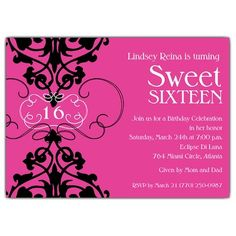Fleur Pink Sweet 16 Invitations | PaperStyle