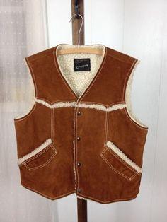 Vintage Suede Shearling Sherpa Vest Fleece Trim Cowboy Mens J C Penney RARE Lg