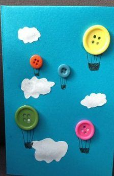 Quiet book page - Button Hot-air Ballon Kids Crafts Projects For Kids, Diy For Kids, Craft Projects, Kids Fun, Craft Ideas, Crafts To Do, Arts And Crafts, Paper Crafts, Button Crafts For Kids