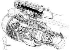 1960s Rolls-Royce Airbus engine cutaway.