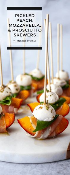 Peach Appetizer, Greek Appetizers, Gourmet Appetizers, Skewer Appetizers, Wedding Appetizers, Appetisers, Prociutto Appetizers, Wedding Canapes, One Bite Appetizers