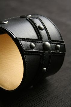 Ethos Custom Brands - Black Cross Cuffs - Hand-crafted Leather Products