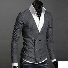 Men's V Neck Buckle Sweaters – USD $ 16.99