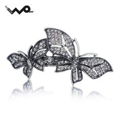 Exquisite Double Butterfly Rhinestone Crystal Hair Clip Barrette Hairpin Accessories Jewelry For Woman Wedding F124