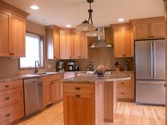 natural cherry kitchen cabinets | Just the cabinets, mind you.