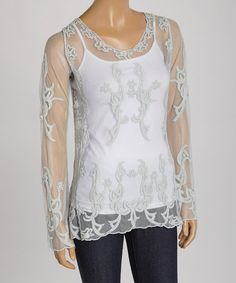 Silver Lace Embellished Scoop Neck Top #zulily #zulilyfinds