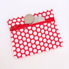 Red With White Polka Dots Change Purse Multi Purpose Zipper Pouch #rileyblakedesigns #honeycombdot #zipperpouch