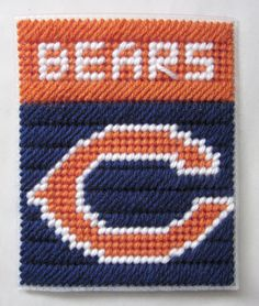 For Katie and Cher :)    Chicago Bears tissue box cover in plastic canvas PATTERN ONLY. $2.00, via Etsy.