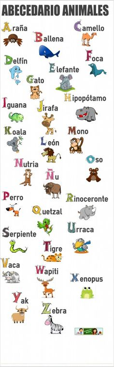 Orientación Andújar: EL abecedario de los animales ✿ Spanish Learning/ Teaching Spanish / Spanish Language / Spanish vocabulary / Spoken Spanish ✿ Share it with people who are serious about learning Spanish!