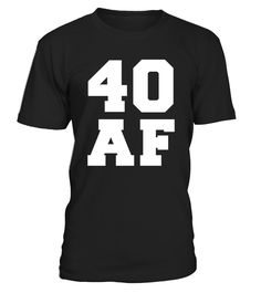 "Perfect Birthday Gift Idea for Men / Women - 40 AF Tshirt. Awesome gift for your dad, daddy, brother, sister, husband, boyfriend, son, uncle or nephew, girlfriend, mom, mother, friends, family. It is time to party and celebrate 40 years old birthday!   Funny Graphic Tee with print ""40 AF"". Complete your collection of bday accessories for him / her (hat, decorations, v neck shirt, tank top, boxers, swimsuit, apparel, charms, crown, earrings, mug, cup) with this Straigh..."