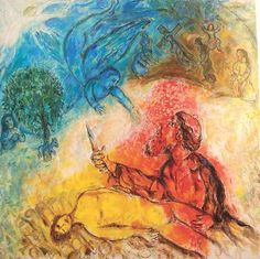 """Marc Chagall """"Sacrifice of Isaac"""" (1960-1965)  I still remember this painting from the Chagall museum in France back in the 1990s."""