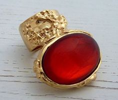 Arty Oval Ring Gold Siam Red Vintage Glass  Size 5.5-other sizes avail/$26.99 PLUS Free Thank you gift with purchase for BlackFriday/CyberMonday  sales  @modtoast