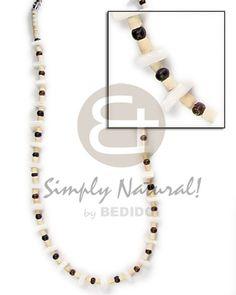 2-3mm Coco Heishe Bleach  2-3 Mm Coco Pokalet Brown Alt/white Rose Sq Cut Teens Necklace