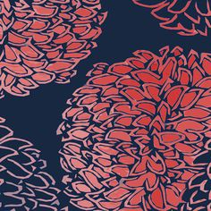 Ming Chrysanthemum by Sparrowsong Studios in an Asian styling, Navy and Coral Pink. Available in any color you desire on wallpaper and a range of 13 different fabrics! Let me know help you design an array of custom fabrics all your own!