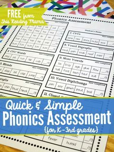 Teach Your Child to Read - Quick and Simple FREE Phonics Assessment for Grades -This Reading Mama Give Your Child a Head Start, and.Pave the Way for a Bright, Successful Future. Kindergarten Assessment, Reading Assessment, Kindergarten Reading, Teaching Reading, Guided Reading, Phonics Reading, How To Teach Reading, Reading Comprehension, First Grade Assessment