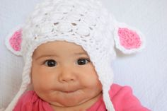 Crochet Lamb Baby Hat Winter Costume Cap New Baby Gift Baby Shower Present New Mother  by FatFoxDesigns on Etsy