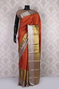 Rust #orange pure kanchipuram silk #divine saree with multicoloured border -SR11463