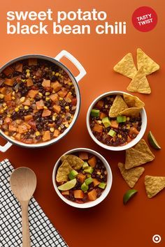 This Sweet Potato Black Bean Chili recipe makes for a delicious and hearty meal. It's all about the flavor and so easy. Heat oil in a Dutch oven and sauté garlic and onions. Add spices (cumin, paprika, chipotle pepper) and stir until fragrant. Add broth, sweet potatoes, tomatoes and corn. When the potatoes get tender, stir in the black beans and heat through. Serve with Archer Farms Pumpkin-Flavored Tortilla Chips, sliced avocado and some lime. Now this is comfort food perfection.