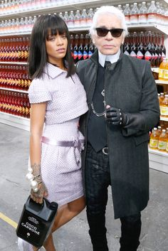 March 3, 2014: Rihanna attends the Chanel Fall 2014 fashion show during Paris Fashion Week in head to toe Chanel Haute Couture