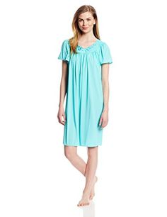 Miss Elaine Womens Tricot Short Flutter Sleeve Nightgown Vivid Aqua Medium *** More info could be found at the image url.